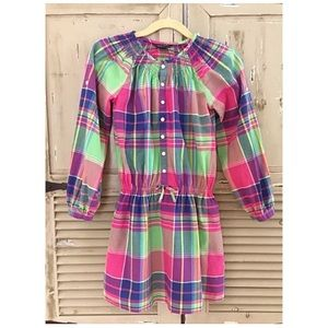 RL Girls Sz 12 Polo Madras Plaid Shirt Dress
